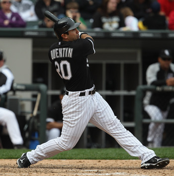 CHICAGO, IL - MAY 01: Carlos Quentin #20 of the Chicago White Sox hits the ball against the Baltimore Orioles at U.S. Cellular Field on May 1, 2011 in Chicago, Illinois. The Orioles defeated the White Sox 6-4. (Photo by Jonathan Daniel/Getty Images)