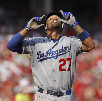 CINCINNATI, OH - JUNE 4: Matt Kemp #27 of the Los Angeles Dodgers celebrates after hitting a home run in the seventh inning against the Cincinnati Reds at Great American Ball Park on June 4, 2011 in Cincinnati, Ohio. Kemp also hit a grand slam in the eigh
