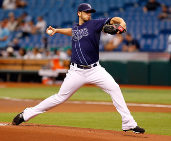 ST PETERSBURG, FL - APRIL 30:  :  Pitcher James Shields #33 of the Tampa Bay Rays pitches against the Los Angeles Angels of Anaheim during the game at Tropicana Field on April 30, 2011 in St. Petersburg, Florida.  (Photo by J. Meric/Getty Images)