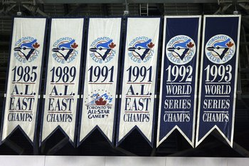 TORONTO - APRIL 6:A view of the Blue Jays  banners taken during the game between the Toronto Blue Jays and the Boston Red Sox during their MLB game at the Rogers Centre April 6, 2008 in Toronto, Ontario. (Photo By Dave Sandford/Getty Images)