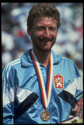 30 SEP 1988:  MILOSLAV MECIR OF CZECHOSLOVAKIA SMILES AFTER RECEIVING HIS GOLD MEDAL FOR WINNING THE MENS SINGLE TENNIS TOURNAMENT AT THE 1988 SEOUL OLYMPICS. MECIR DEFEATED TIM MAYOTTE OF THE UNITED STATES  3-6, 6-2, 6-4 AND 6-2 TO CLAIM THE GOLD.