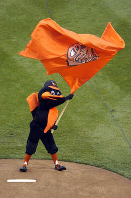 BALTIMORE - MARCH 31:  The Baltimore Orioles mascot waves a flag during the introductions before the game against the Tampa Bay Rays on Opening Day at Camden Yards March 31, 2008 in Baltimore, Maryland.  (Photo by Greg Fiume/Getty Images)