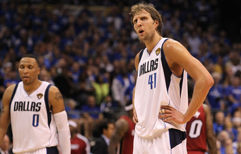 DALLAS, TX - JUNE 05:  Jose Juan Barea #11 of the Dallas Mavericks reacts against the Miami Heat in the second half of Game Three of the 2011 NBA Finals at American Airlines Center on June 5, 2011 in Dallas, Texas.  NOTE TO USER: User expressly acknowledg