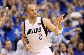 DALLAS, TX - JUNE 05:  Jason Kidd #2 of the Dallas Mavericks reacts after making a three-pointer in the third quarter against the Miami Heat in Game Three of the 2011 NBA Finals at American Airlines Center on June 5, 2011 in Dallas, Texas.  NOTE TO USER: