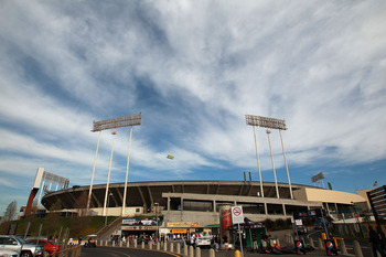 OAKLAND, CA - APRIL 01:  A general view of the Oakland Coliseum before the Seattle Mariners take on the Oakland Athletics on opening day at Oakland-Alameda County Coliseum on April 1, 2011 in Oakland, California.  (Photo by Jed Jacobsohn/Getty Images)