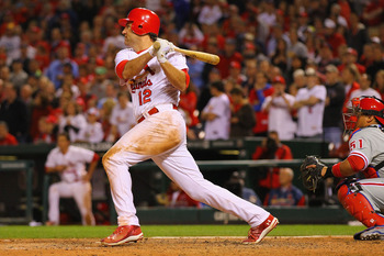 ST. LOUIS, MO - MAY 17: Lance Berkman #12 of the of the St. Louis Cardinals hits a walk-off single against the Philadelphia Phillies Busch Stadium on May 17, 2011 in St. Louis, Missouri.  (Photo by Dilip Vishwanat/Getty Images)