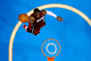 DALLAS, TX - JUNE 05:  Dwyane Wade #3 of the Miami Heat goes up to dunk the ball while taking on the Dallas Mavericks in Game Three of the 2011 NBA Finals at American Airlines Center on June 5, 2011 in Dallas, Texas.  NOTE TO USER: User expressly acknowle