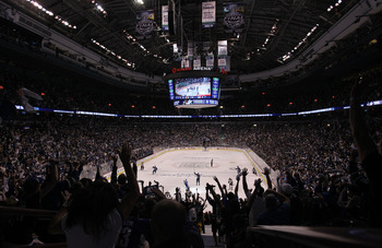 VANCOUVER, BC - JUNE 04:  Fans cheer after Alex Burrows #14 of the Vancouver Canucks scored a goal against Tim Thomas #30 of the Boston Bruins in the middle of the first period during Game Two of the 2011 NHL Stanley Cup Final at Rogers Arena on June 4, 2
