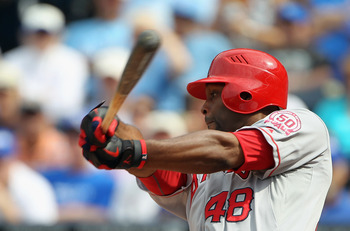 KANSAS CITY, MO - MAY 30:  Torii Hunter #48 of the Los Angeles Angels of Anaheim bats during the game against the Kansas City Royals on May 30, 2011 at Kauffman Stadium in Kansas City, Missouri.  (Photo by Jamie Squire/Getty Images)