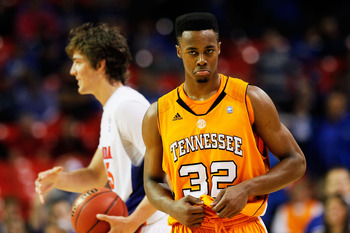ATLANTA, GA - MARCH 11:  Scotty Hopson #32 of the Tennessee Volunteers reacts during their 74 to 85 loss to the Florida Gators in the quarterfinals of the SEC Men's Basketball Tournament at Georgia Dome on March 11, 2011 in Atlanta, Georgia.  (Photo by Ke