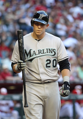PHOENIX, AZ - MAY 30:  Logan Morrison #20 of the Florida Marlins at bat during the Major League Baseball game against the Arizona Diamondbacks at Chase Field on May 30, 2011 in Phoenix, Arizona. The Diamondbacks defeated the Marlins 15-4.  (Photo by Chris
