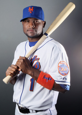 PORT ST. LUCIE, FL - FEBRUARY 24:  Luis Castillo #1 of the New York Mets poses for a portrait during the New York Mets Photo Day on February 24, 2011 at Digital Domain Park in Port St. Lucie, Florida.  (Photo by Elsa/Getty Images)