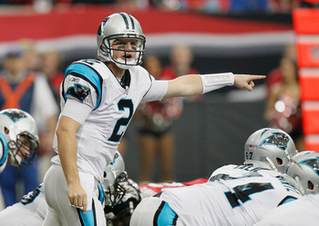 ATLANTA, GA - JANUARY 02:  Quarterback Jimmy Clausen #2 of the Carolina Panthers against the Atlanta Falcons at Georgia Dome on January 2, 2011 in Atlanta, Georgia.  (Photo by Kevin C. Cox/Getty Images)