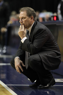 INDIANAPOLIS, IN - MARCH 10:  Head coach Tom Izzo of the Michigan State Spartans coaches against the Iowa Hawkeyes during the first round of the 2011 Big Ten Men's Basketball Tournament at Conseco Fieldhouse on March 10, 2011 in Indianapolis, Indiana.  (P