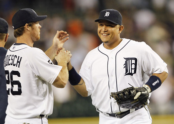 DETROIT - JUNE 01: Brennan Boesch #26 and Miguel Cabrera #24 of the Detroit Tigers celebrate a 4-2 win over the Minnesota Twins at Comerica Park on June 1, 2011 in Detroit, Michigan. (Photo by Leon Halip/Getty Images)