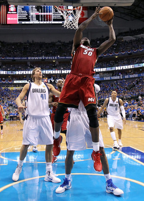 DALLAS, TX - JUNE 05:  Joel Anthony #50 of the Miami Heat goes up for a shot in the lane against the Dallas Mavericks in Game Three of the 2011 NBA Finals at American Airlines Center on June 5, 2011 in Dallas, Texas.  NOTE TO USER: User expressly acknowle
