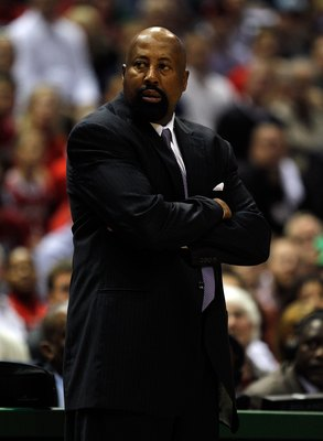 MILWAUKEE - APRIL 26: Head coach Mike Woodson of the Atlanta Hawks watches as his team takes on the Milwaukee Bucks in Game Four of the Eastern Conference Quarterfinals during the 2010 NBA Playoffs at the Bradley Center on April 26, 2010 in Milwaukee, Wis