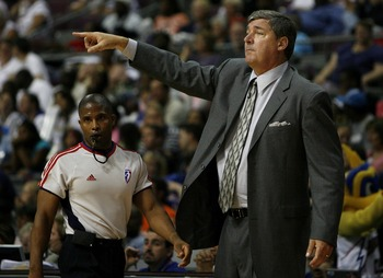 AUBURN HILLS, MI - SEPTEMBER 05:  Bill Laimbeer head coach of the Detroit Shock points out something to his players during Game One of the WNBA Finals against the Phoenix Mercury at the Palace of Auburn Hills on September 5, 2007 in Auburn Hills, Michigan