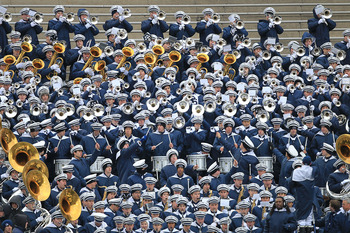 STATE COLLEGE, PA - NOVEMBER 27: The Penn State Nittany Lion Blue Band performs during a game against the Michigan State Spartans on November 27, 2010 at Beaver Stadium in State College, Pennsylvania. The Spartans won 28-22. (Photo by Hunter Martin/Getty