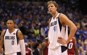 DALLAS, TX - JUNE 05:  (L-R) Shawn Marion #0 and Dirk Nowitzki #41 of the Dallas Mavericks look on while taking on the Miami Heat in Game Three of the 2011 NBA Finals at American Airlines Center on June 5, 2011 in Dallas, Texas. The Heat won 88-86. NOTE T