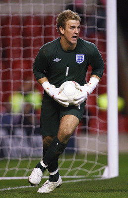 NOTTINGHAM, UNITED KINGDOM - MARCH 31:  Joe Hart of England in action during the U-21 International Friendy Match between England and France at the City Ground on March 31, 2009 in Nottingham, England.  (Photo by Laurence Griffiths/Getty Images)