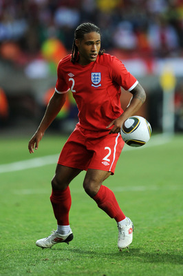 PORT ELIZABETH, SOUTH AFRICA - JUNE 23:  Glen Johnson of England in action during the 2010 FIFA World Cup South Africa Group C match between Slovenia and England at the Nelson Mandela Bay Stadium on June 23, 2010 in Port Elizabeth, South Africa.  (Photo b