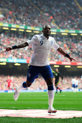 CARDIFF, WALES - MARCH 26:  Darren Bent of England celebrates after scoring his team's second goal during the UEFA EURO 2012 Group G qualifying match between Wales and England at the Millennium Stadium on March 26, 2011 in Cardiff, Wales.  (Photo by Shaun