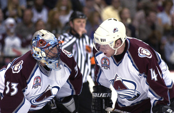 9 Jun 2001:  Patrick Roy #33 and teammate Alex Tanguay #40 of the Colorado Avalanche in game seven of the NHL Stanley Cup Finals against the New Jersey Devils at Pepsi Center in Denver, Colorado.  The Avalanche won 3-1 to take the series 4-3.  DIGITAL IMA