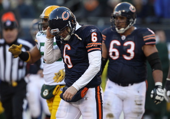 CHICAGO, IL - JANUARY 23:  Quarterback Jay Cutler #6 of the Chicago Bears reacts in the second quarter against the Green Bay Packers in the NFC Championship Game at Soldier Field on January 23, 2011 in Chicago, Illinois.  (Photo by Jonathan Daniel/Getty I