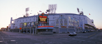 DETROIT - APRIL 12:  A general view of Tiger Stadium from the street outside on Opening Day on April 12, 1999 in Detroit, Michigan.  The Tigers lost to the Twins 1-0.  (Photo by Tom Pidgeon/Getty Images)