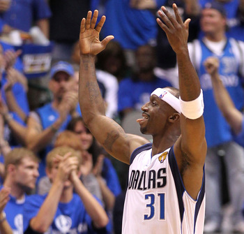 DALLAS, TX - JUNE 05:  Jason Terry #31 of the Dallas Mavericks reacts against the Miami Heat in Game Three of the 2011 NBA Finals at American Airlines Center on June 5, 2011 in Dallas, Texas.  NOTE TO USER: User expressly acknowledges and agrees that, by