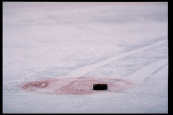 16 Jan 1996:  General view of a puck during a game between the Winnipeg Jets and the Washington Capitals at the USAir Arena in Landover, Maryland.  The game was a tie, 1-1. Mandatory Credit: Doug Pensinger  /Allsport