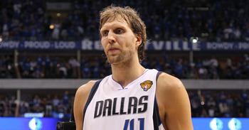 DALLAS, TX - JUNE 05:  Dirk Nowitzki #41 of the Dallas Mavericks walks off the court after being defeated 88-86 by the Miami Heat in Game Three of the 2011 NBA Finals at American Airlines Center on June 5, 2011 in Dallas, Texas.  NOTE TO USER: User expres