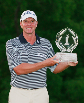 DUBLIN, OH - JUNE 05:  Steve Stricker poses with the trophy after winning the Memorial Tournament presented by Nationwide Insurance at the Muirfield Village Golf Club on June 5, 2011 in Dublin, Ohio.  (Photo by Scott Halleran/Getty Images)