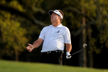 AUGUSTA, GA - APRIL 12:  Kenny Perry reacts to his chip shot on the first sudden death playoff hole during the final round of the 2009 Masters Tournament at Augusta National Golf Club on April 12, 2009 in Augusta, Georgia.  (Photo by Harry How/Getty Image