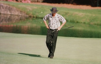 14 Apr 1996:  Greg Norman of Australia looks to the ground in dejection after missing another putt during the final round of the 1996 Masters at Augusta National Golf Club in Augusta, Georgia. Mandatory Credit: David Cannon/Allsport
