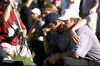 26 Sep 1999:  Sergio Garcia and Sam Torrance of Europe during the 33rd Ryder Cup match played at the Brookline CC in Boston, Massachusetts, USA. \ Mandatory Credit: Craig Jones /Allsport
