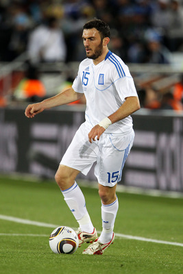 POLOKWANE, SOUTH AFRICA - JUNE 22:  Vassilis Torosidis of Greece in action during the 2010 FIFA World Cup South Africa Group B match between Greece and Argentina at Peter Mokaba Stadium on June 22, 2010 in Polokwane, South Africa.  (Photo by Phil Cole/Get