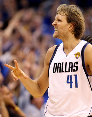 DALLAS, TX - JUNE 05:  Dirk Nowitzki #41 of the Dallas Mavericks reacts in the second half against the Miami Heat in Game Three of the 2011 NBA Finals at American Airlines Center on June 5, 2011 in Dallas, Texas.  NOTE TO USER: User expressly acknowledges
