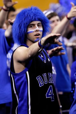INDIANAPOLIS - APRIL 05:  A fan of the Duke Blue Devils supports his team against the Butler Bulldogs during the 2010 NCAA Division I Men's Basketball National Championship game at Lucas Oil Stadium on April 5, 2010 in Indianapolis, Indiana. Duke won 61-5