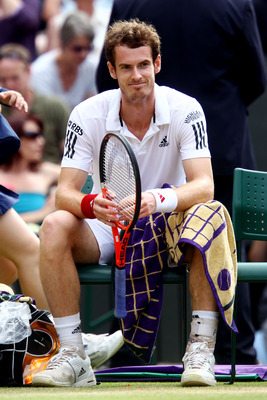 LONDON, ENGLAND - JULY 02:  Andy Murray of Great Britain reacts during the Men's Semi Final match against Rafael Nadal of Spain on Day Eleven of the Wimbledon Lawn Tennis Championships at the All England Lawn Tennis and Croquet Club on July 2, 2010 in Lon