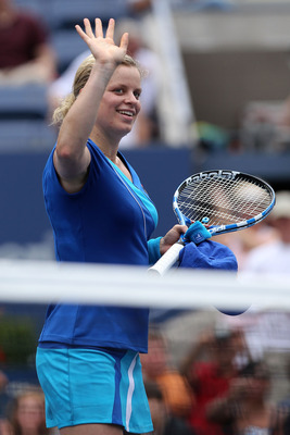 NEW YORK - SEPTEMBER 03:  Kim Clijsters of Belgium waves to the fans as she celebrates winning her women's singles match against Petra Kvitova of the Czech Republic  on day five of the 2010 U.S. Open at the USTA Billie Jean King National Tennis Center on