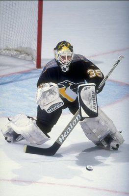 25 Nov 1998:  Tom Barrasso #35 of the Pittsburgh Penguins in action during the game against the Washington Capitals at the MCI Center in Washington, D.C.. The Capitals defeated the Penguins 5-4. Mandatory Credit: Al Bello  /Allsport