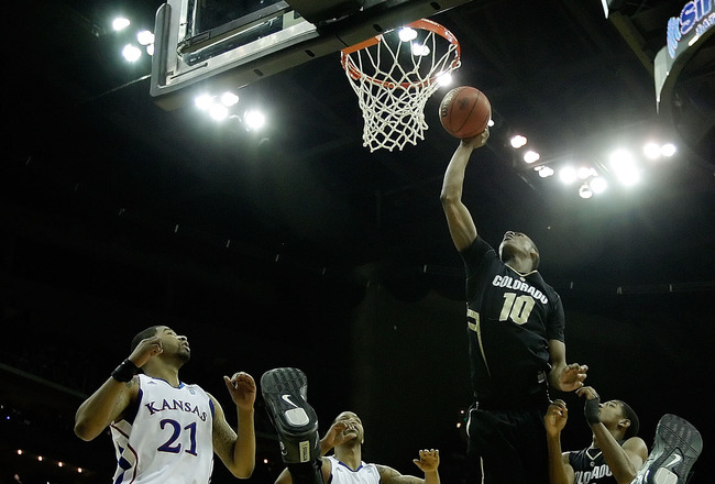 KANSAS CITY, MO - MARCH 11:  Alec Burks #10 of the Colorado Buffaloes goes up for a shot against the Kansas Jayhawks during their semifinal game in the 2011 Phillips 66 Big 12 Men's Basketball Tournament at Sprint Center on March 11, 2011 in Kansas City,