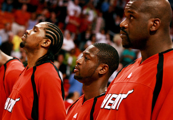 Shaq with Udonis Haslem and Dwyane Wade