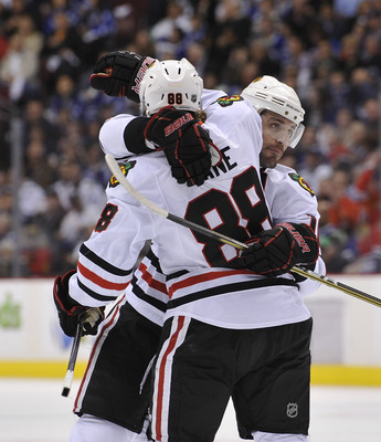 VANCOUVER, CANADA - APRIL 21: Patrick Sharp #10 of the Chicago Blackhawks congratulates Patrick Kane #88 after scoring against the Vancouver Canucks during the first period in Game Five of the Western Conference Quarterfinals during the 2011 NHL Stanley C