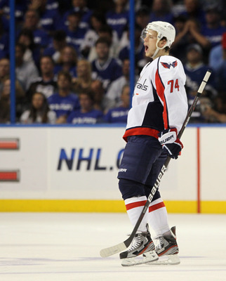 TAMPA, FL - MAY 03:  John Carlson #74 of the Washington Capitals celebrates his goal against the Tampa Bay Lightning in Game Three of the Eastern Conference Semifinals during the 2011 NHL Stanley Cup Playoffs at St Pete Times Forum on May 3, 2011 in Tampa
