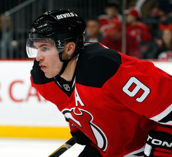 NEWARK, NJ - APRIL 02:  Zach Parise #9 of the New Jersey Devils waits for a faceoff during an NHL hockey game against the Montreal Canadians at the Prudential Center on April 2, 2011 in Newark, New Jersey.  (Photo by Paul Bereswill/Getty Images)