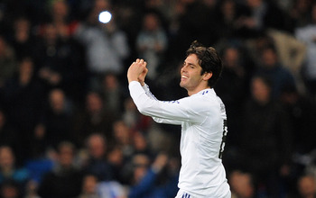 MADRID, SPAIN - JANUARY 09:  Kaka of Real Madrid celebrates after scoring Real's fourth goal during the La Liga match between Real Madrid and Villarreal at Estadio Santiago Bernabeu on January 9, 2011 in Madrid, Spain.  (Photo by Denis Doyle/Getty Images)