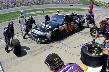 KANSAS CITY, KS - JUNE 05:  Matt Kenseth pits the #17 Affliction Clothing: Live Fast Ford during the NASCAR Sprint Cup Series STP 400 at Kansas Speedway on June 5, 2011 in Kansas City, Kansas.  (Photo by John Harrelson/Getty Images for NASCAR)